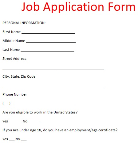 Job Application Letter Example Job Application Form