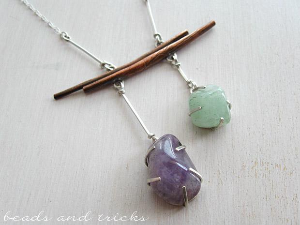 Collana in argento e rame con pietre naturali semipreziose