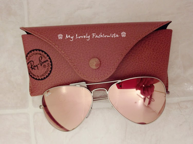 ray ban aviator brown mirror pink