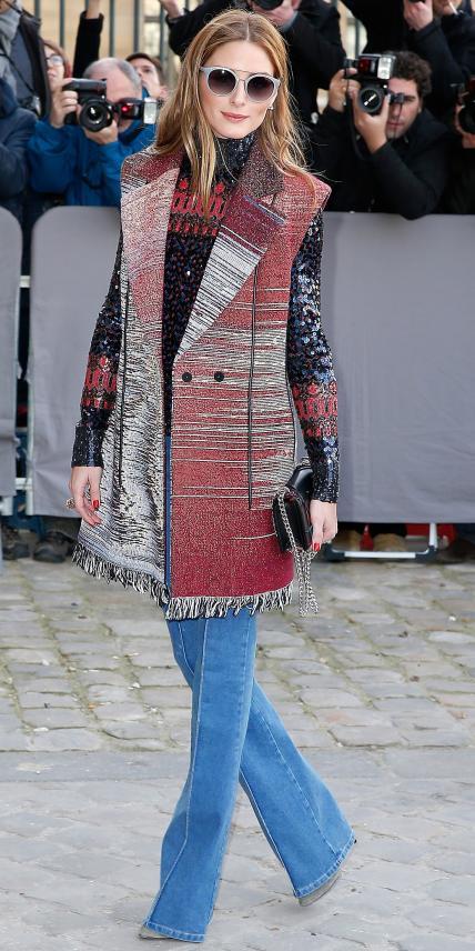 Olivia Palermo Inspiración pantalones de campana fashion week street style paris marzo 15