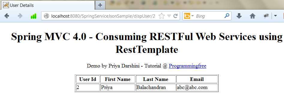 Spring MVC 4.0: Consuming RESTFul Web Services using RestTemplate ...