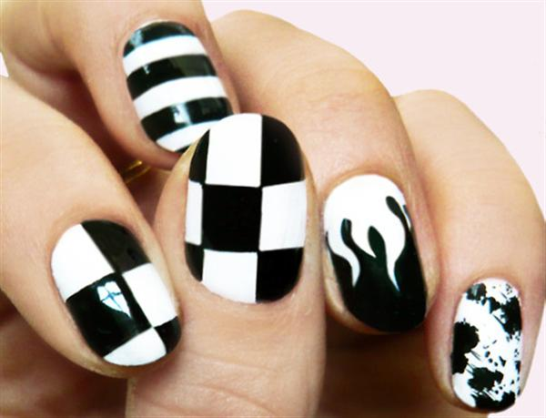 Black and white nail art designs violet fashion art