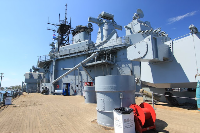 Gunfire-control radars on Battleship USS IOWA BB61 in Los Angeles, California, USA