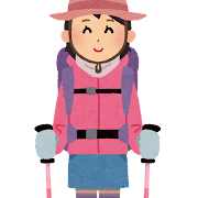 女性の登山家・山ガールのイラスト