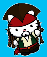 Hello Kitty in Captain Jack Sparrow costume