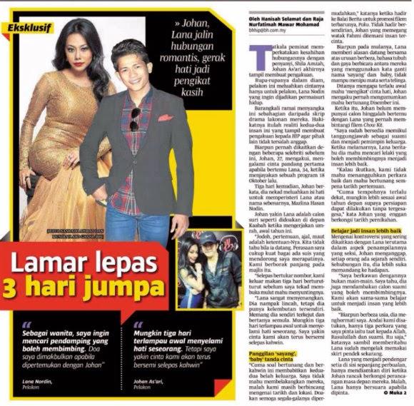 Johan As'ari Nekad Lamar Lana Nordin Untuk Jadi Isterinya