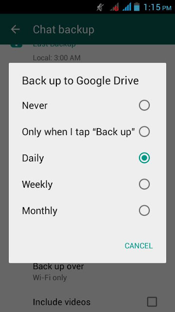 how to automatically backup whatsapp conversations by google step step 2