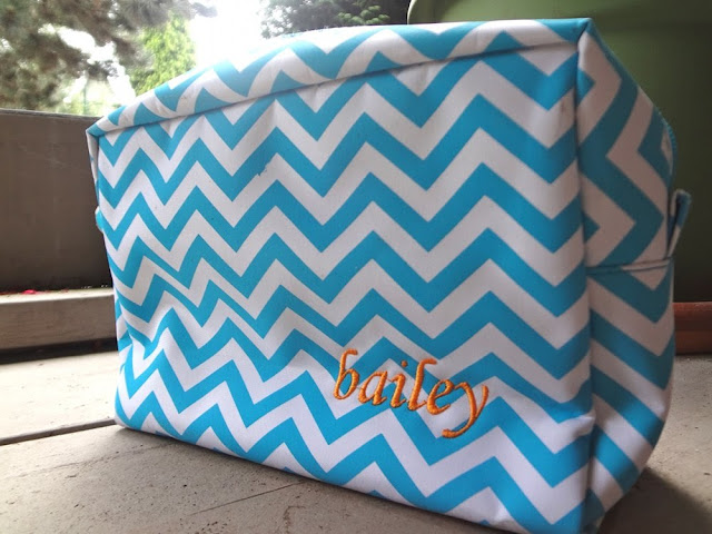Chevron makeup bag, embroidered with name