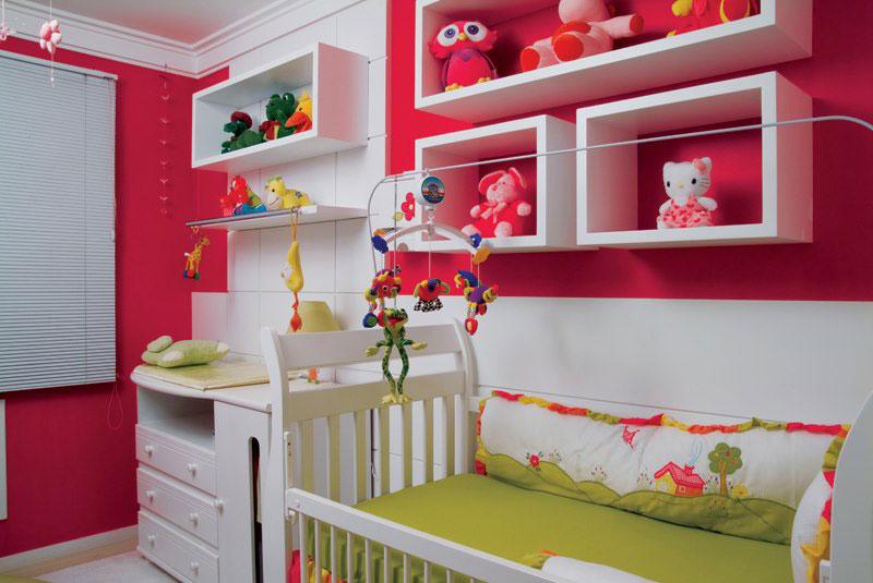 Decoração de quarto de bebê pink e verde