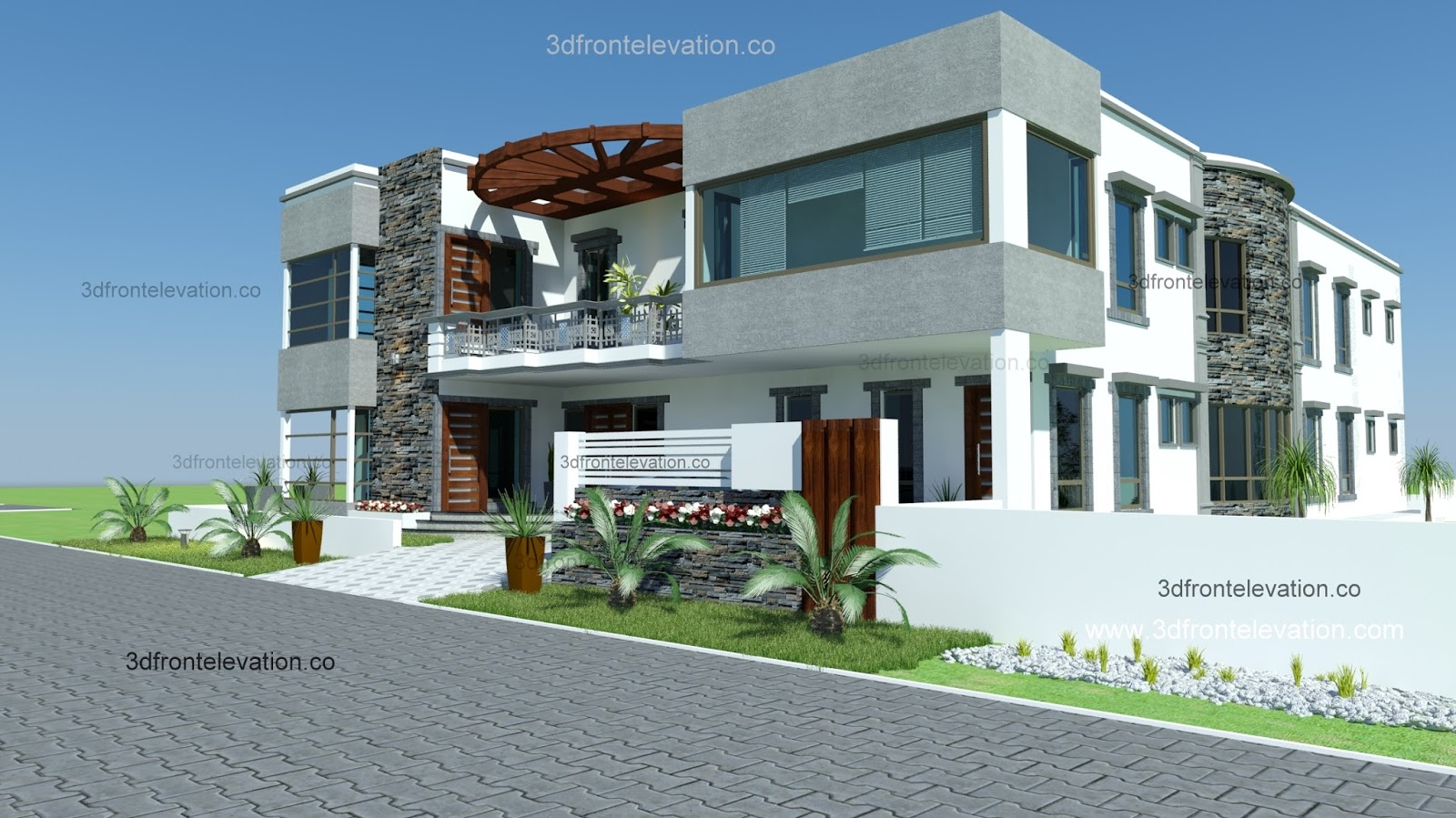 Front Elevation Houses Islamabad : D front elevation yards house plan