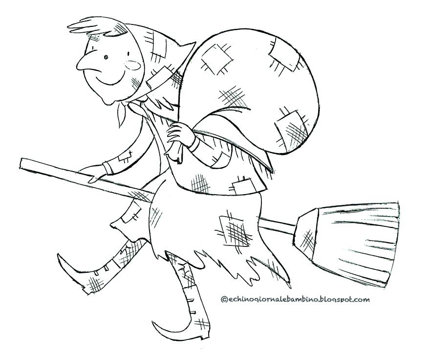 Echino giornale bambino filastrocca della befana di for Befana disegno da colorare