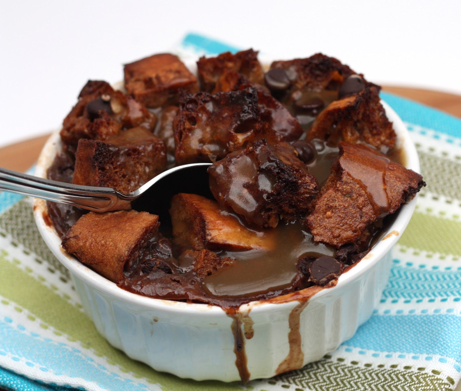 ... and Rhubarb: Chocolate Bread Pudding with Bourbon Butterscotch Sauce