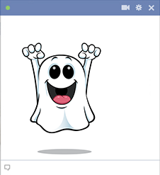 Smiling ghost Facebook sticker