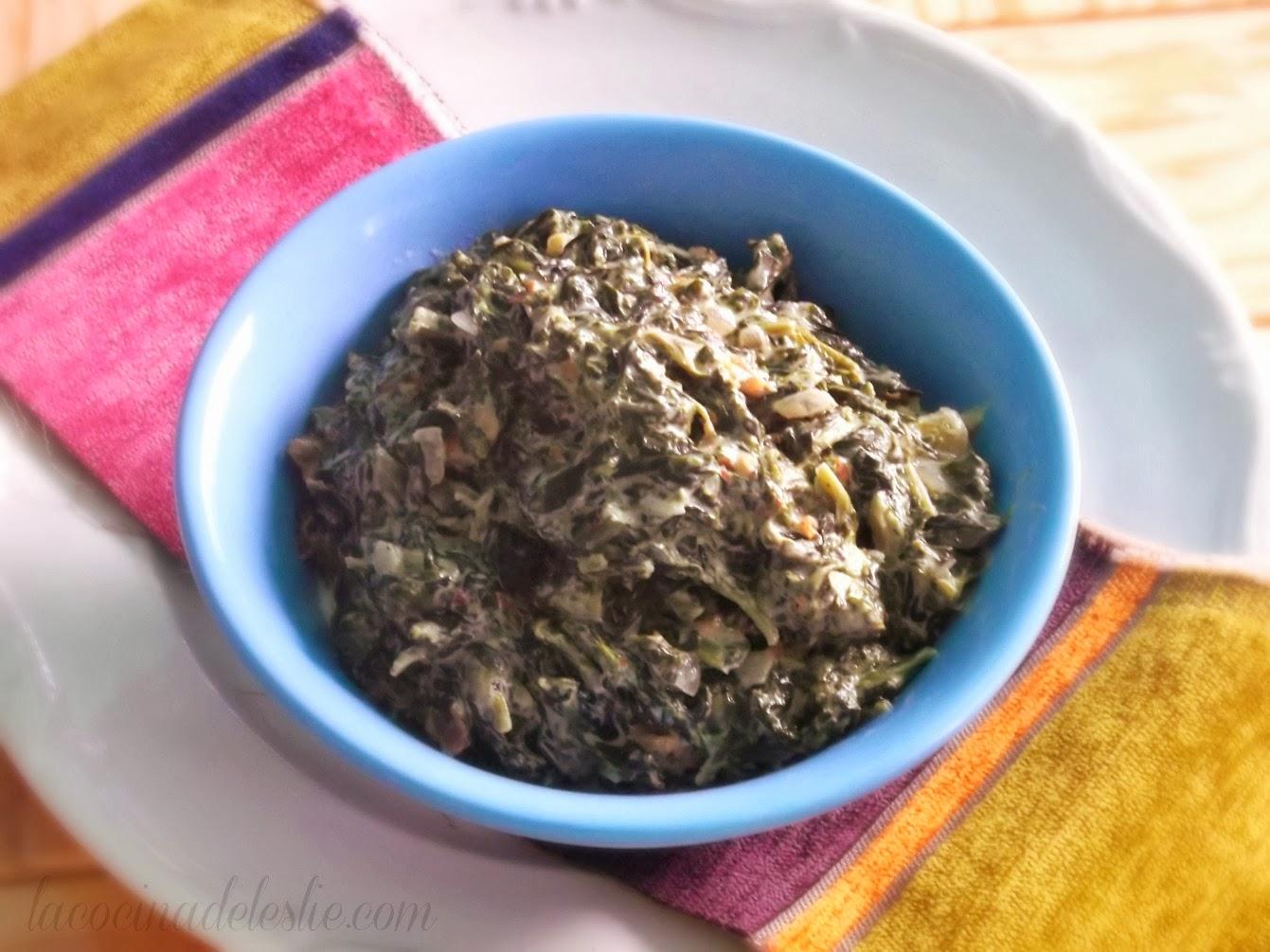 Espinacas con Crema (Creamed Spinach) - lacocinadeleslie.com