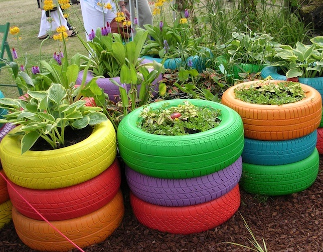 Welcome to the green heart den gardening with old - Painted tires for gardens ...