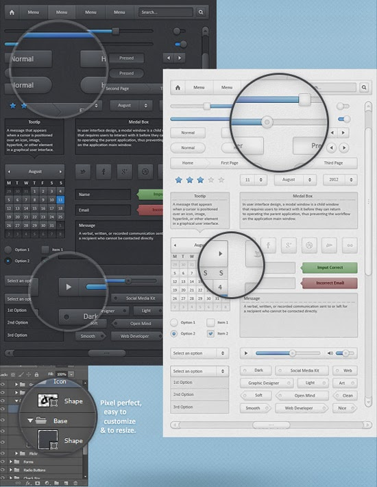 DARK AND LIGHT FREE GUI PSD