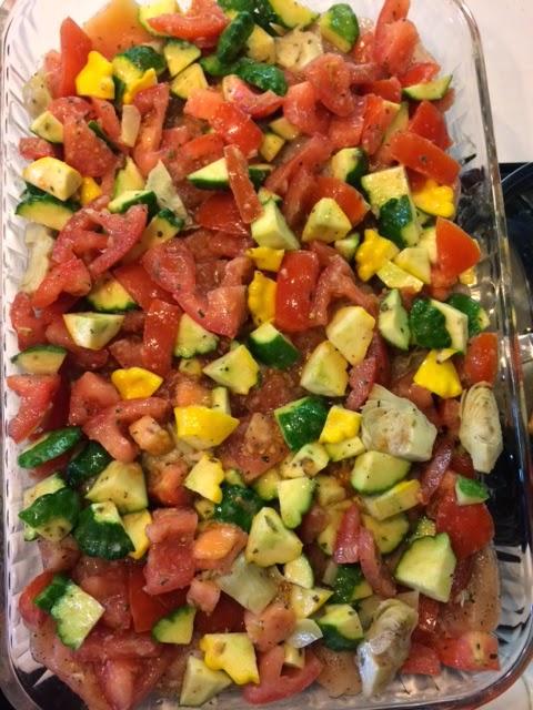 Italian Chicken, tomatoes, artichoke hearts, zucchini