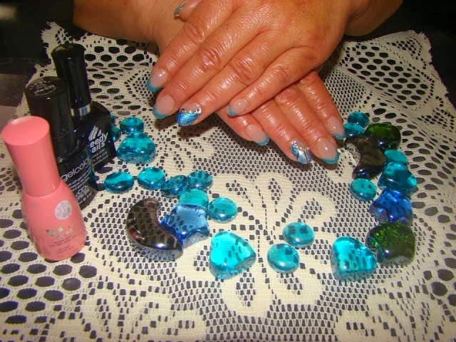 Acrylics with Blue glitz crystals