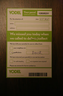 Yodel delivery notice