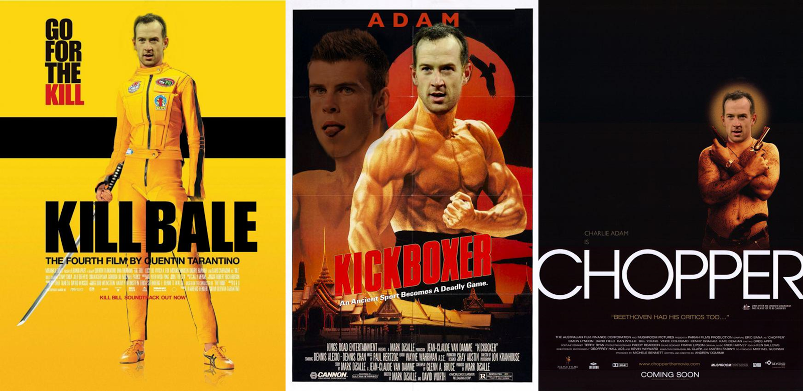 Kill Bale, Kickboxer, Chopper, Charlie Adam, Gareth Bale, injury, funny, film poster, movie poster. meme, Liverpool, Tottenham