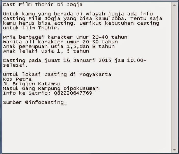 Cast Film Thohir Di Jogja