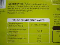 Información nutricional del chocolate con leche PRIMER PRECIO de Alcampo