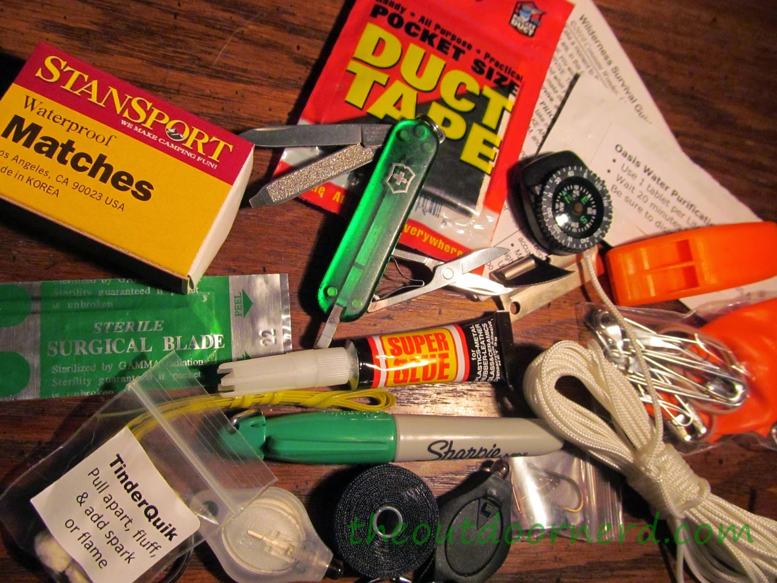 Glovebox Survival Kit Contents for Emergency Bag
