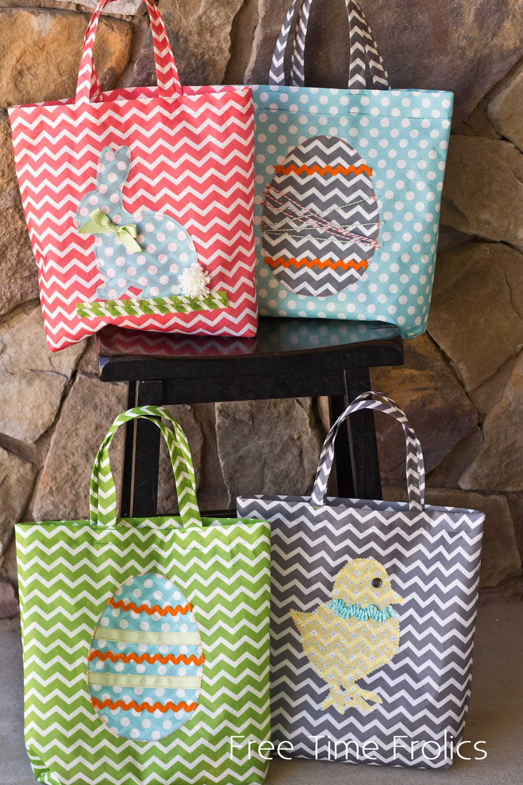 grocery bag fabric Easter tote www.freetimefrolics.com
