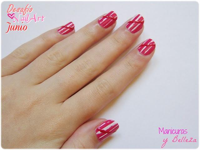 Manicura Nail art rojo rosa blanco rayas