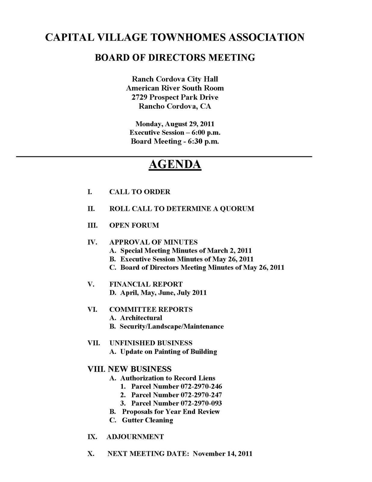 hoa meeting agenda template