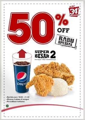 Promo KFC paket super besar 2, Diskon 50% Oktober 2013 !