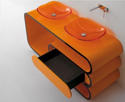 tocador baño naranja