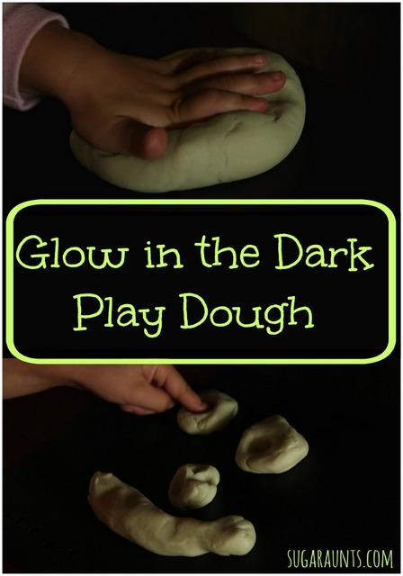 Play dough recipe for glow in the dark play dough. This recipe uses Silly String! Too cool!