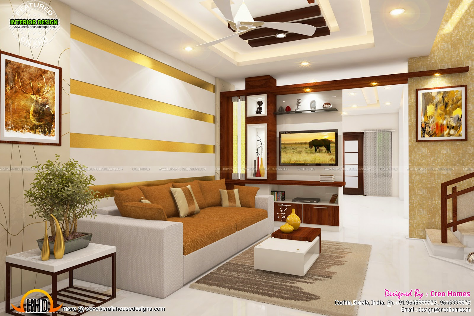 Total home interior solutions by creo homes kerala home for Living room interior in kerala