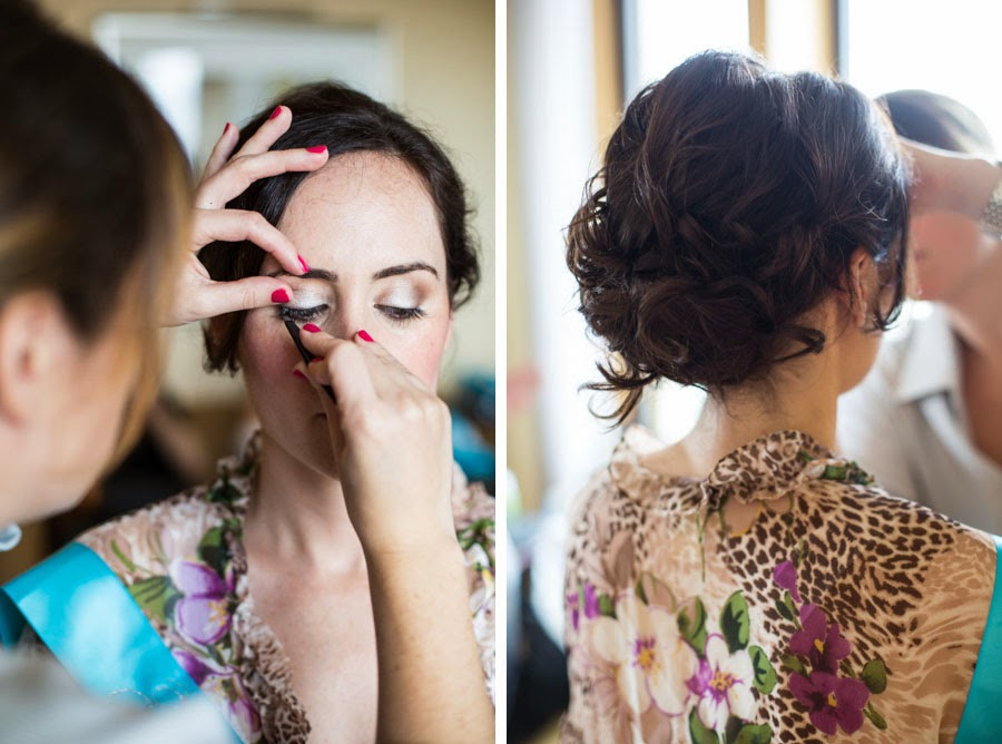 Bridal makeup and updo. Makeup artist Alexis Ansell applying bridal makeup and lashes to bride. Lifestyle wedding photography by Cassie Castellaw. www.cassiecastellaw.com