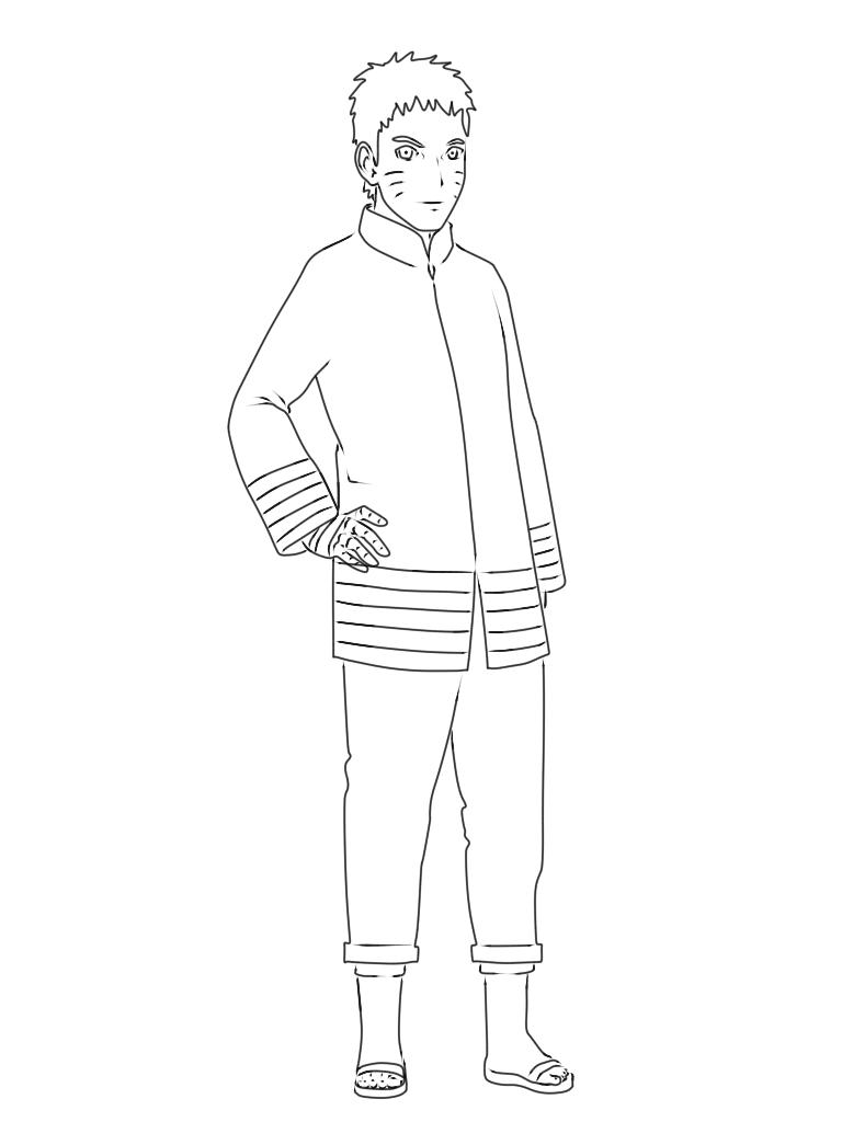 langkah 16 cara menggambar Naruto Hokage