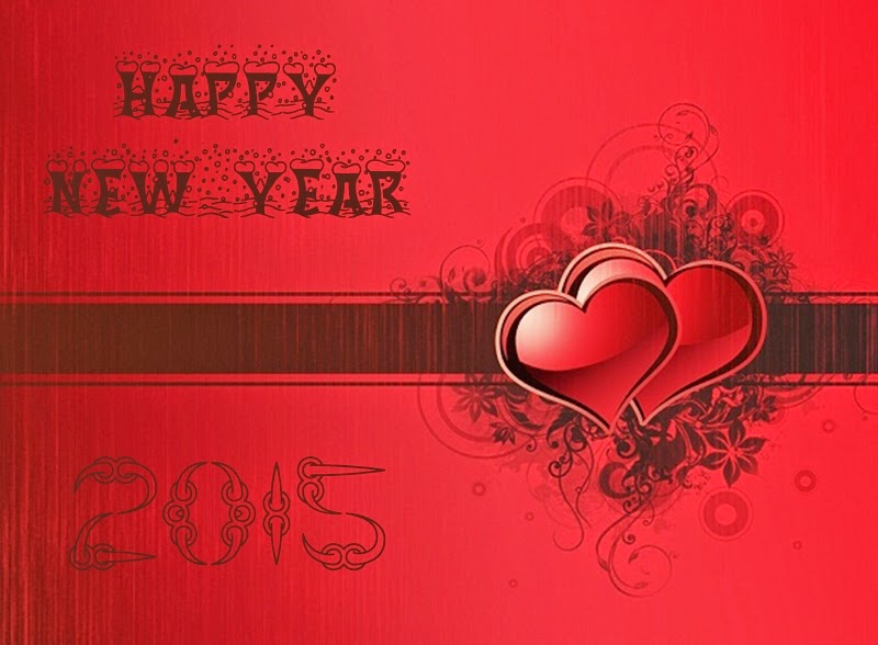 Heart Shaped Happy New Year 2015 Greeting Cards Images