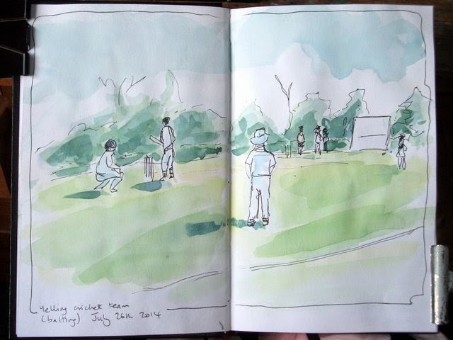 Village cricket team, ink and watercolour sketch