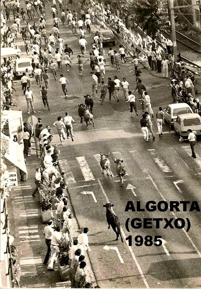 ENCIERRO TOROS Y VAQUILLAS ALGORTA GETXO 1985