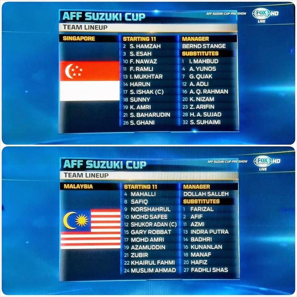 first 11 Malaysia Vs Singapura Piala AFF Suzuki 2014