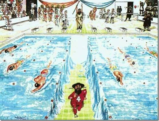 משה בתחרות שחיה