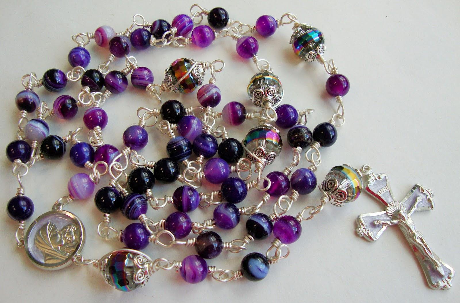 etsy rosary guild team purple striped agate catholic rosary