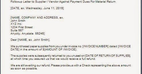 Payment Refund Letter Sample Format