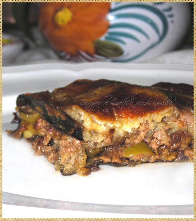 Melanzane con carne macinata uvetta olive