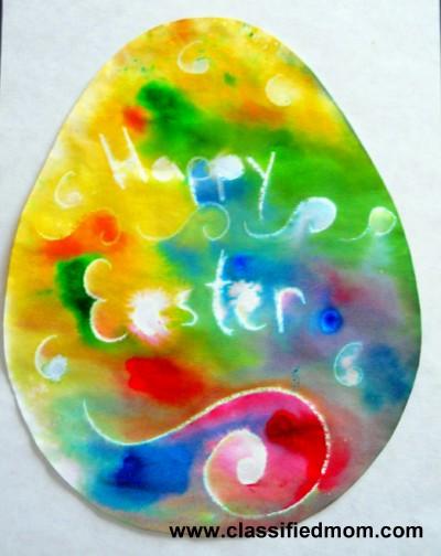 Preschool crafts for kids rainbow wax resist easter egg for Easter craft for preschool