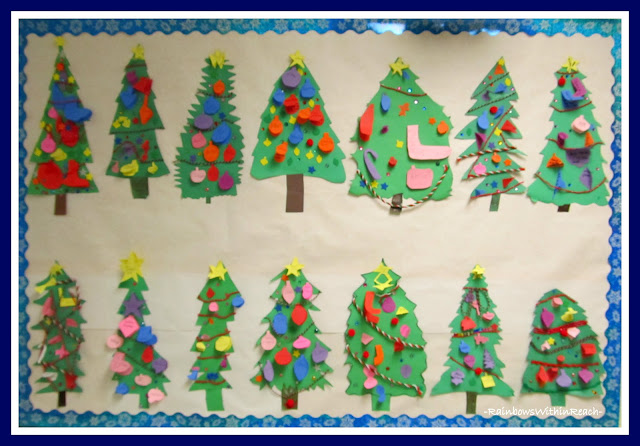 photo of: Decorated Christmas Tree Bulletin Board (Christmas Bulletin Board RoundUP via RainbowsWithinReach)