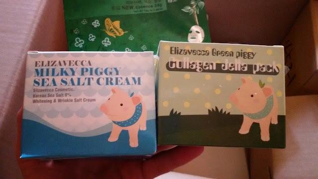 Elizavecca Green Piggy Collagen Jella Pack и Elizavecca Milky Piggy Sea Salt Cream