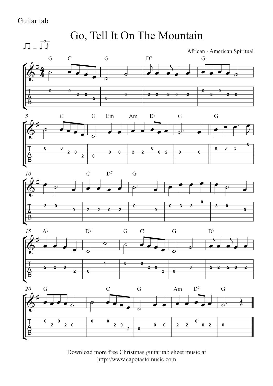Free Christmas Guitar Tab Sheet Music - silent night sheet music and score on ...
