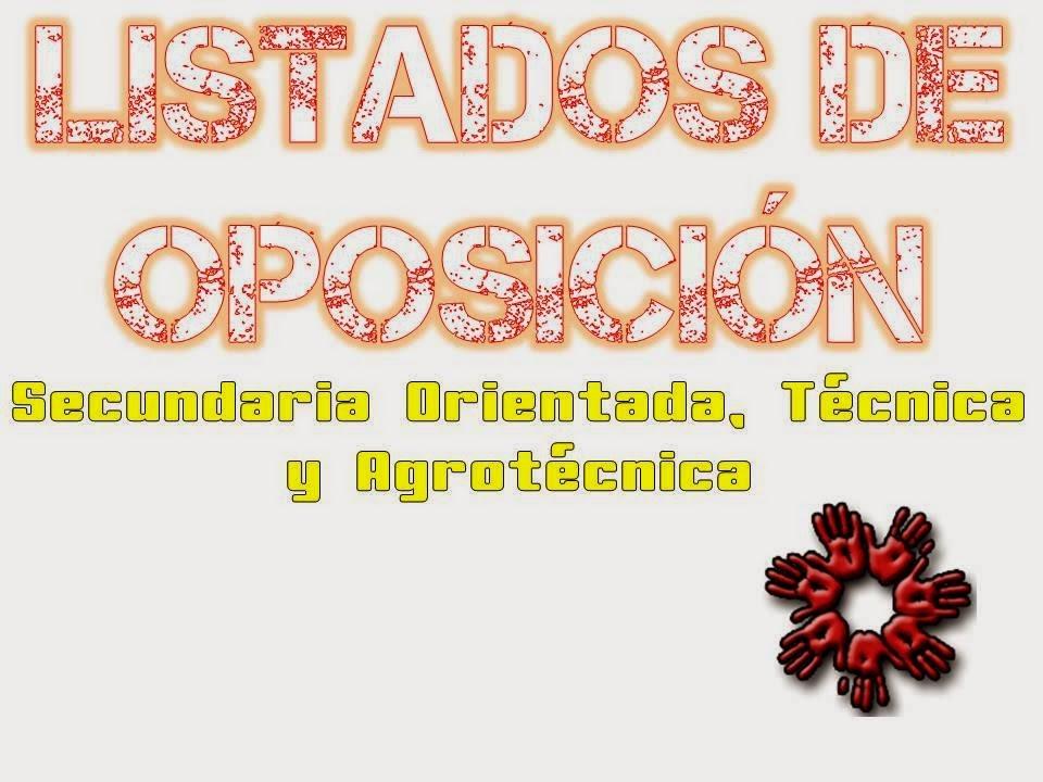 LISTADO PROVISORIO DE OPOSICIÓN DE EDUCACIÓN SECUNDARIA ORIENTADA, TÉCNICA Y AGROTÉCNICA
