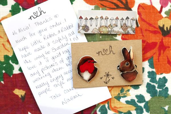 aliciasivert, Naomi Heulwen, jewellry, robin, rabbit, rödhake, kanin